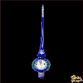 Ёлочное украшение ручной работы из стекла Верхушка Часы (синие).