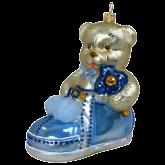Ёлочная игрушка из Польши Плюшевый мишка в синем башмаке