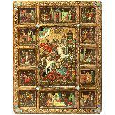 Чудо Святого Георгия о змие с житийными сценами, Живописная икона, 44 Х54
