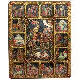 Чудо великомученика Димитрия Солунского о царе Калояне с житийными сценами, Большая икона, 30 Х37