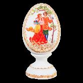 Пасхальное яйцо деревянное с ручной росписью В гости!