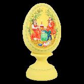 Пасхальное яйцо деревянное с ручной росписью Праздничный обед
