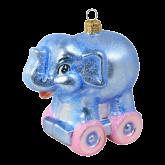 Ёлочная игрушка из Польши Слон на роликах
