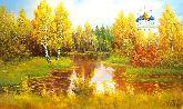 """Картина на холсте """"Рязанский Кремль в осеннем лесу"""""""