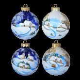 Набор ёлочных шаров ручной работы Зимний пейзаж