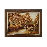Деревянный мостик через реку осенний пейзаж из янтаря