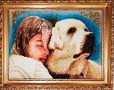 Девушка и собака - янтарная картина