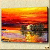 Кровавый закат, картина, Модерн пейзаж №15