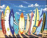 Доски для серфинга, картина, Модерн пейзаж №39
