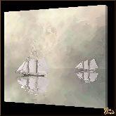 Две яхты, картина, Модерн пейзаж №46