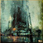 Дождь на улице за стеклом, картина, Модерн пейзаж №47
