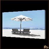 Солнечный гриб на берегу, картина, Модерн пейзаж №52