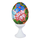 Пасхальное яйцо куриное на подставке Жостово