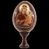 Пасхальное яйцо деревянное с наклейкой  Божья Матерь Тихвинская
