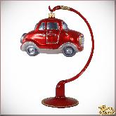 Ёлочная игрушка из стекла Машинка (крас).