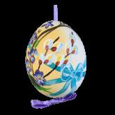 Пасхальное яйцо куриное на ленте Весенний букет