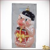 Ёлочная игрушка из стекла  Поросёнок с подарком.
