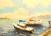 """Картина на холсте """"Лодки у пристани"""""""