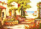 """Картина на холсте """"Южный городок у моря"""""""