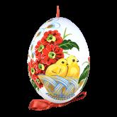 Пасхальное яйцо куриное на ленте Цыплята в корзине