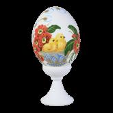 Пасхальное яйцо куриное на подставке Цыплята в корзине