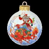 Ёлочный шар ручной работы 80 мм Дед Мороз на тройке