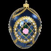 Ёлочная игрушка из Польши Яйцо синее