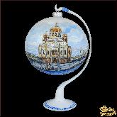 Ёлочный шар ручной работы на подставке Храм Христа Спасителя