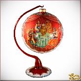 Ёлочный шар ручной работы на подставке Чаепитие в стиле палех