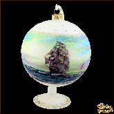 Ёлочный шар ручной работы на подставке Море
