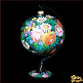 Ёлочный шар ручной работы на подставке Жостово