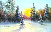 "Картина на холсте ""Закат в зимнем лесу"""