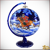 Ёлочный шар ручной работы на подставке Охота в стиле палех