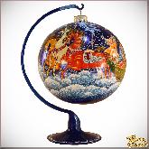 Ёлочный шар ручной работы на подставке Тройка в стиле палех