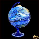 Ёлочный шар ручной работы на подставке Пейзаж Горы