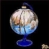 Ёлочный шар ручной работы на подставке Пейзаж Лес