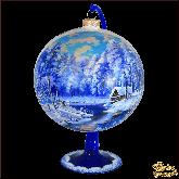 Ёлочный шар ручной работы на подставке Пейзаж Дом у реки