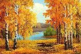 """Картина на холсте """"Золотая осень в Подмосковье"""""""