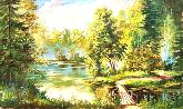 "Картина на холсте ""Летний полдень на озере"""