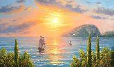 """Картина на холсте """"Медведь-гора на фоне моря"""""""