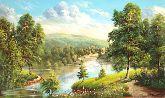"""Картина на холсте """"Речка в лесу"""""""