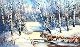"""Картина на холсте """"Зимним днем у реки"""""""