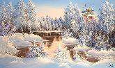 """Картина на холсте """"Рязанский Кремль в зимнем лесу"""""""