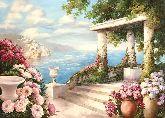 "Картина на холсте ""Цветущая терраса у моря"""