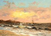 """Картина на холсте """"Парусник в море на закате"""""""