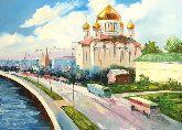 "Картина на холсте ""Набережная Москвы. Храм Христа Спасителя"""