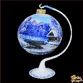 Ёлочный шар ручной работы на подставке Пейзаж Дом у реки по кругу