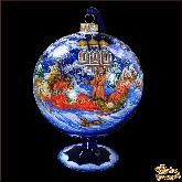 Ёлочный шар ручной работы на подставке Пейзаж Рождество