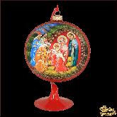 Ёлочный шар ручной работы на подставке Рождество Христово