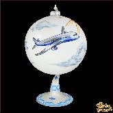 Ёлочный шар ручной работы на подставке Самолёт